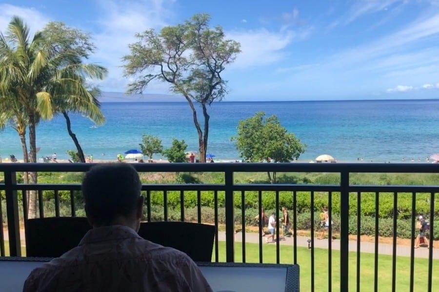 View from an oceanfront room at the westin nanea ocean villas