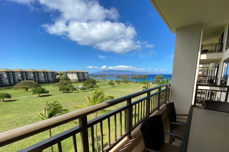 A gorgeous partial view of the ocean from a resort view room at the Westin Nanea Ocean Villas in Maui