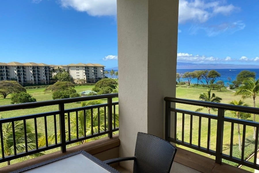 A view out over the Pacific Ocean from the Westin Nanea Ocean Villas Resort in Maui
