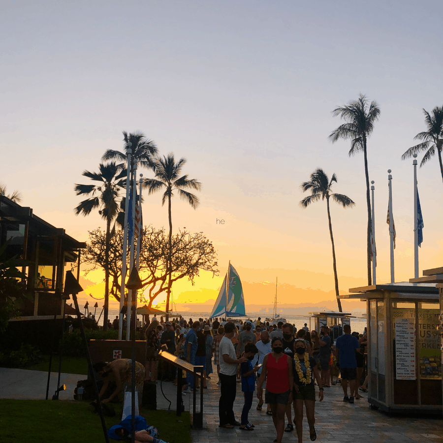 Whalers Village at sunset with Kaanapali restaurants