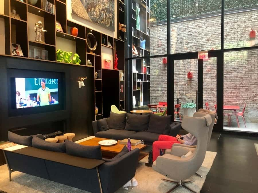 The Living Room common area at the CitizenM Bowery Hotel