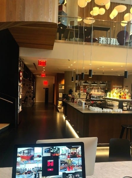 The work area called the living room at CitizenM Bowery Hotel New York