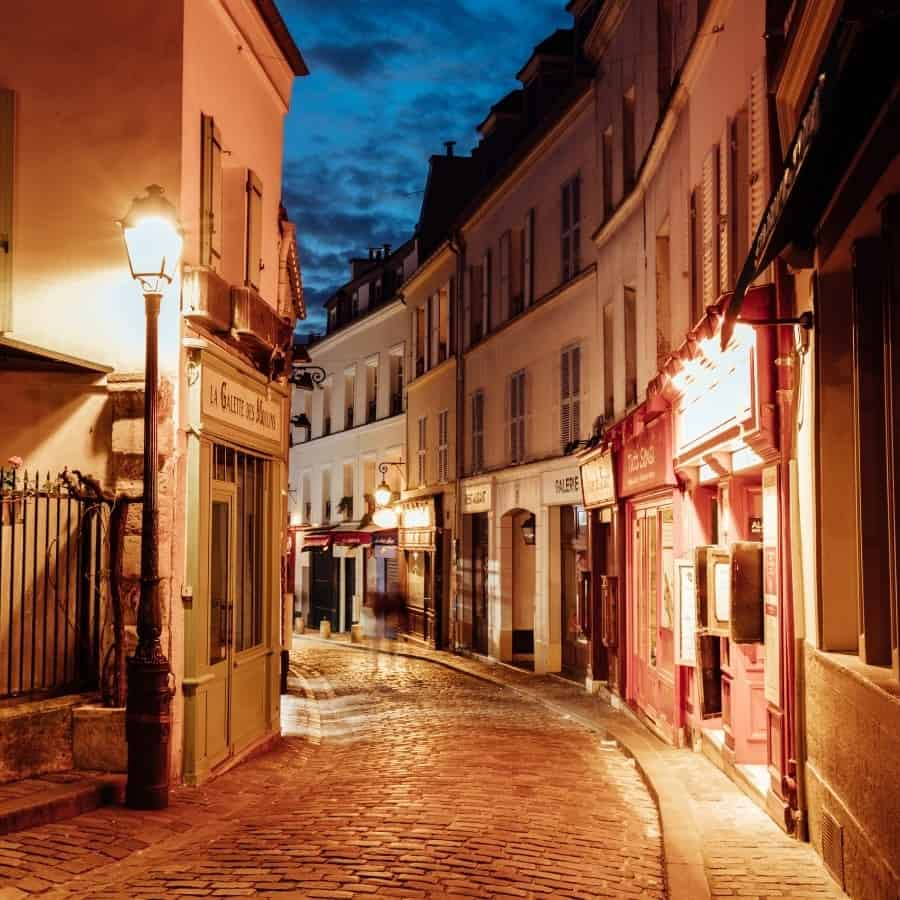 A charming street in Monmartre Paris at night
