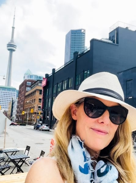 Susan Heinrich in her home city of Toronto with the CN Tower in the background