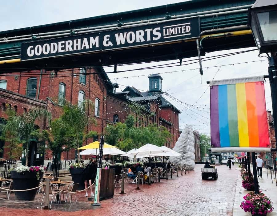 Historic buildings in Toronto's Distillery district date to the 1830's