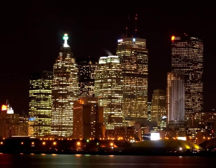 Downtown Toronto highrises at night
