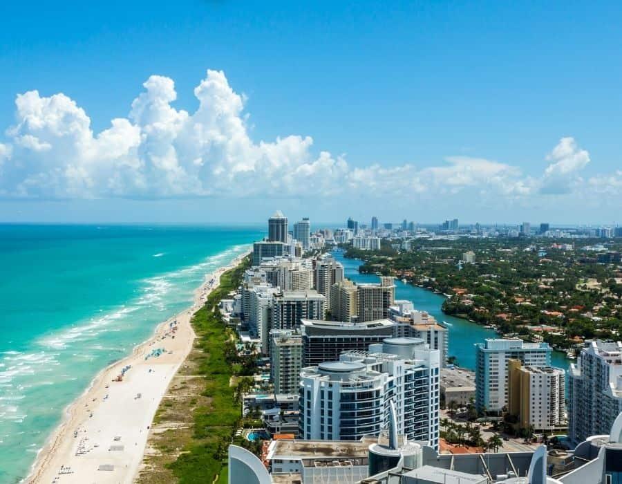 An aerial view of MiamiBeach, an ideal girls trip destination
