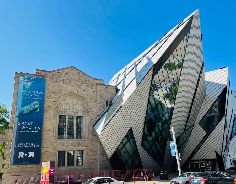 The exterior of Toronto's Royal Ontario Museum with it's combination of new and old architecture