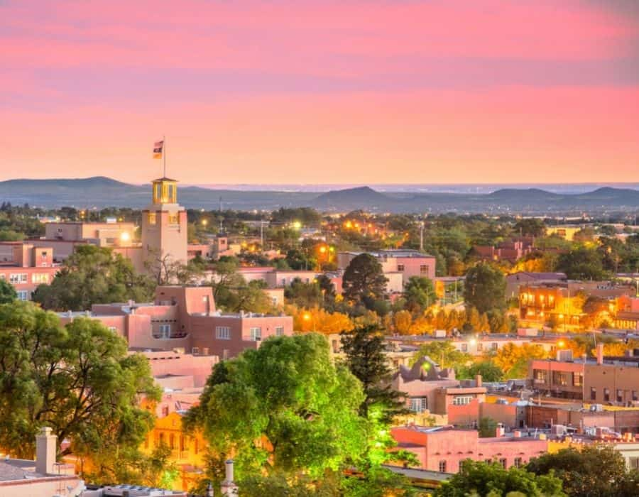 Santa Fe New Mexico at Sunset with a pink sky