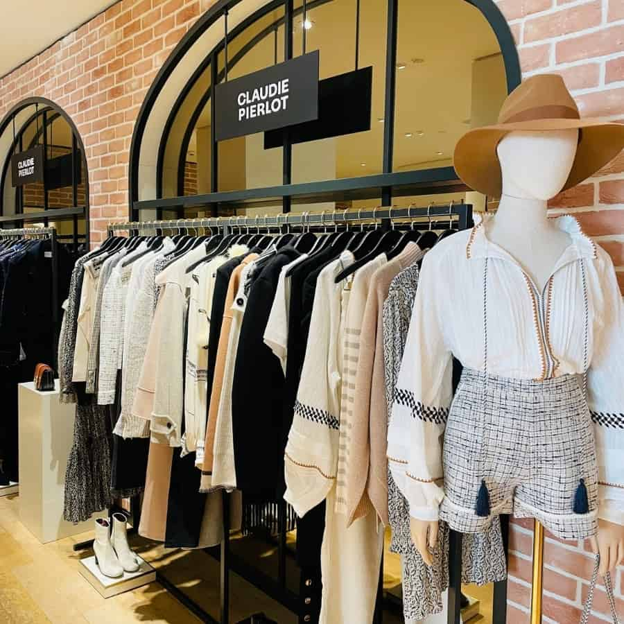 A display of Claudie Pierlot, an affordable French brand, in Le Bon Marché Paris